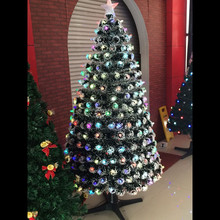 180 cm of snow leaves colorful LED lights with full rotation fiber optic Christmas tree ornaments tree