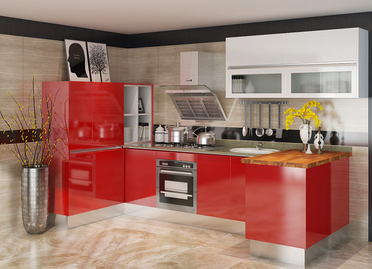 Oppein kitchen cabinets red bespoke modular modern kitchen for Bespoke kitchen cabinets