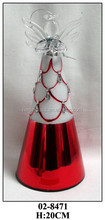 Handmade Red Dress Christmas Decoration Glass Hanging Angel with Peacock Feather Pattern