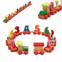 Beautiful Design Hot Sale Baby Toddlers Children Wooden Digital Model Small Train Set 0-9 Number Toy For Fun Colors Randomly