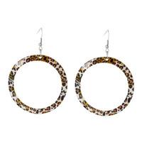 Silver Tone Hook Round Brown Leopard Pattern Fashion Shell Dangle Earrings 7.1cmx5cm