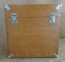 Vintage Wooden construction box dovetail wood storage file metal lock edges