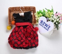 New fashion high quality hot style spandex material baby dress 2015 red dress children girl dress D009