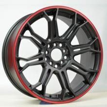 matte black with red lip car wheel rim