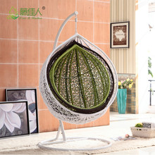cheap price indoor outdoor garden rattan wicker hanging egg basket swing chair with metal stand