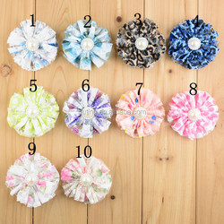 Print Chiffon Lace Flower Puffy Ruffled Petite Rhinestone center Flower Applique