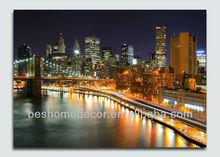 Nueva york arte de la lona imprime con luces led, lienzo de la pintura moderna, fotos enmarcadas con luces