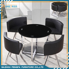 2015 round tempered glass top cross matal legs dining table sets