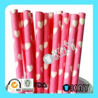 Pink Heart Valentine Party Drinking Straws