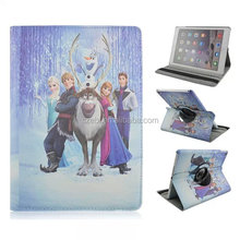 Frozen cartoon colored drawing PU leather case, 360 degree rotation stand for ipad 3,6 and ipad mini