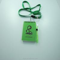 Promotional customized lanyard mini notepad with pen