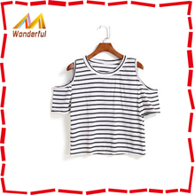 Custom design quality sexy womens t-shirt wholesale with crop style for attractive women