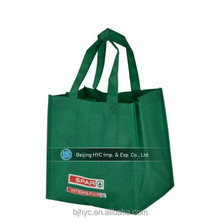 Different material green nonwoven 6 bottle tote wine bag wholesale