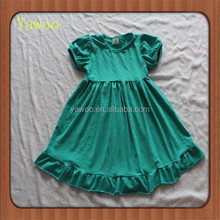 2015children baby dress for one year old girls wholesale party frozen short sleeve long frocks ruffle turquoise dresses