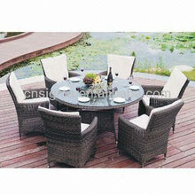 2015 All Weather 7pc Wicker Dining Setting Patio Dinning Round Table and Chairs Set