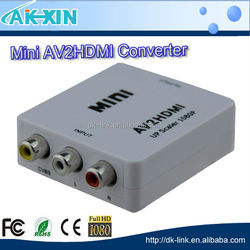 Mini HD 1080P 3RCA AV CVBS Composite Video to HDMI Converter Box Adapter Supports PAL NTSC with USB Charge Cable