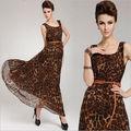 venta caliente suelta de la ronda de gasa cuello vestido de leopardo