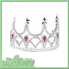 FT-13 2015 Silver Crown with Pink Jewels Fairy Princess Tiaras