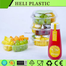 Disposable clear plastic fruit serving tray/container