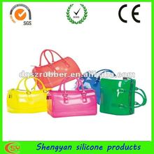 hot sell colored jelly transparent pvc shoulder bag for women