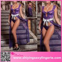 2015 Latest Design Top Quality Purple 2pcs Parisien satin nighty babydoll set