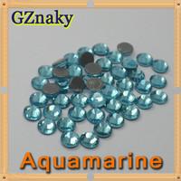 Top Quality ss10 AQUAMARINE flatback hot fix rhinestone iron on transfer for Garment decoration CRYSTAL GLASS ROUND STONE BEADS