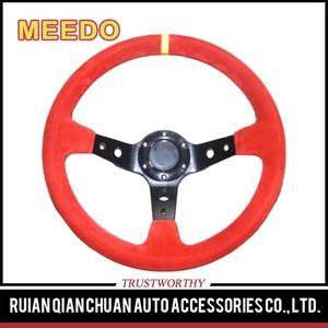 ماركة جلد 350 ملليمتر 90 ملليمتر طبق عجلة القيادة ، 14 بوصة عجلة القيادة الجلدية