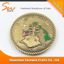 custom die stamping gold coins with coating color countries map