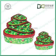 Manufacturer Christmas gift Tinplate Tree Shape Metal box