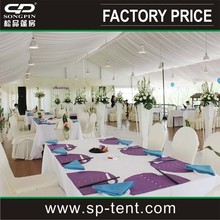 easy to assembly white wedding party tent decorated with curtains & linings