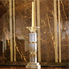 Wholesale antique pillar crystal glass candle holder for wedding decorative