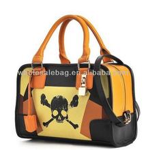 Designer Skull Printing Lady Handbag Woman Leather Hand Bag Crossbones Print Tote Bag