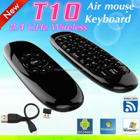 T10 C120 Air Mouse 2.4GHz Wireless Keyboard witt Universal Remote Control 2-in-1 Black