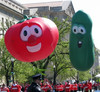 gaint inflatable Veggie Tales Larry and Bob parade balloon for advertising