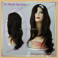 20Inch #2 Big Layer Long Natural Wave Jewish Kosher European Women Wigs