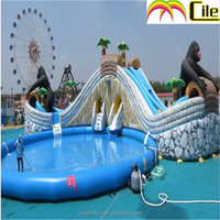 CILE Amusing Inflatable Gorilla Jumping Slide with Pools for Adult and Kids