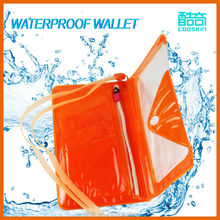 PVC waterproof neck wallet/burse with zipper