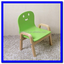 attractive design seat high adjustable cheap birch wood kids dining/study cartoon smile face stool/chair with armrest