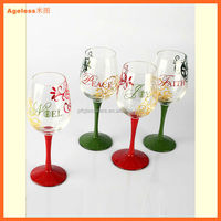Christmas painted long stem wine glass