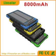 mobile phone accessories waterproof 8000mAh dual USB solar panel recharger for mobile phone