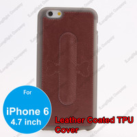 Brown Leather Coated TPU Case With Magic Sticker U Shape Silicone Phone Stand Holder For iPhone 6