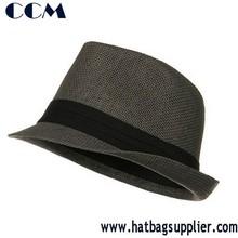 Pleated Hat Band Straw Fedora Hat