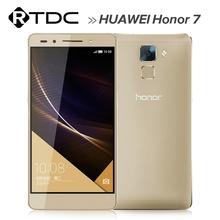 "2015 Original 5.2"" 1920*1080P 20MP 64GB ROM Huawei Honor 7 Hisilicon Kirin 935 Octa Core FDD LTE 4G Android 5.0 Mobile Phone"