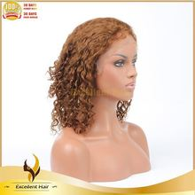 Factory Unprocessed Full Hand Tied 4# curly Top Quality Brazilian Hair Full Lace Wig For Bald Women
