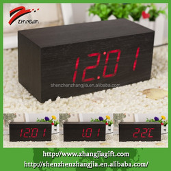 Red Led Rectangular Clock,Led Digital Clock,Wooden Clock