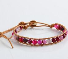 Colorful Dotty Dyed Jade Bracelet, Crystal Weave Tribal Bracelet, Leather Boho Beaded Bracelet