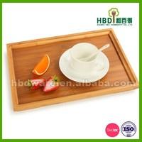 High quality eco-friendly Bamboo wood rectangular food serving tray, food platter, breakfast tray FDA