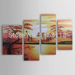 Free Shipping 100% Hand-painted abstract Africa Painting giraffe landscape wall art - Set of 4 piece canvas art