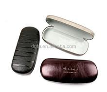 Good hard metal glasses case hinge , promotional eye glasses case leather , customized logo eyewear glasses case
