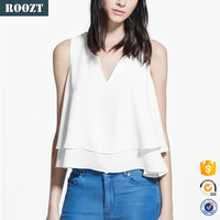 Fashion ladies blouse designs sleeveless double layer top with notched scoop neck white casual blouse